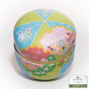 Boîte à thé japonaise rose et bleu